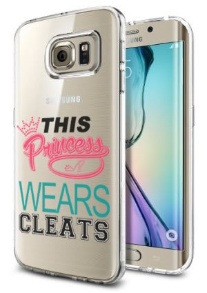 Case Soccer Softball Princess Wears Cleats Cool Funny Teen Girls UNIQUE Designer CLEAR Transparent Gloss Candy TPU Flexible Slim Case Cover Skin for Samsung Galaxy S6 Edge ()