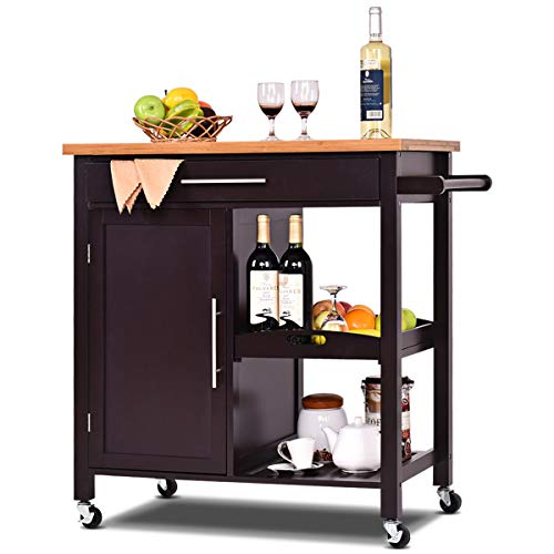 (Giantex Kitchen Trolley Cart Wood Rolling Island Cart Home Restaurant Kitchen Dining Room Serving Utility Cart w/Bamboo Top Storage Cabinet Bigger Drawer Removable Tray Shelf, Brown)