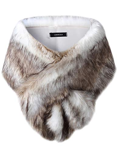 Caracilia Shawl Wrap Faux Fur Shrug Stole Scarf Winter Bridal Wedding Cover Up sansemao CAFB3, Fox White / Brown, - Fox Brown Fur Coat