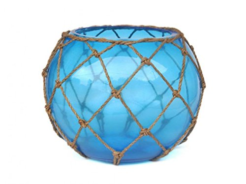 (Hampton Nautical Bowl-10-LB-O Light Blue Japanese Glass Fishing Float Bowl with Decorative Brown Fish Netting 10
