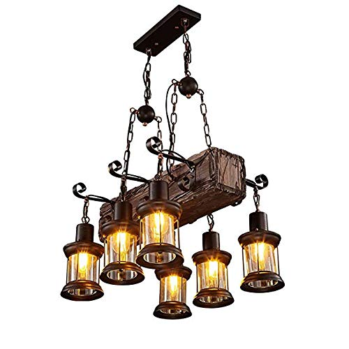 (6 Heads Industrial Loft Style Countryside Vintage Wooden Chandelier Lamp for The Foyer/Coffee Room/Bar Decorate Pendant Lamp)
