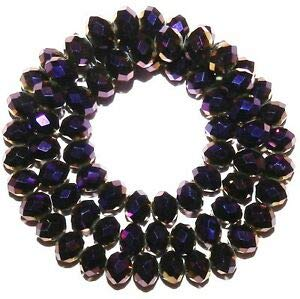 Steven_store CR629 Metallic Dark Purple 10mm Rondelle Faceted Cut Crystal Glass Beads 22