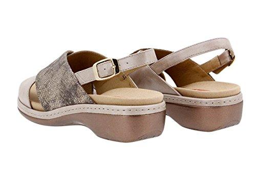 Komfort Damenlederschuh PieSanto 1814 Sandale mit herausnehmbarem Fußbett bequem breit Visón