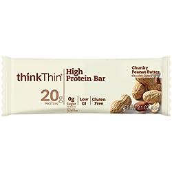 thinkThin High Protein Bars, Chunky Peanut Butter, 2.1 oz Bar (10 Count)