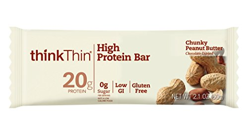 thinkThin High Protein Bars, Chunky Peanut Butter, 2.1 oz Bar (10 Count) (Bar Snack High Protein)