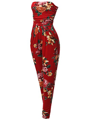 Made by Emma Casual Cute Sexy Side Pockets Shirring Stretchable Floral Tube Top Jumpsuit S