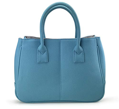 Hoxis Classical Office Lady Minimalist Pebbled Faux Leather Handbag Tote/Magnetic Snap Purse (Blue)