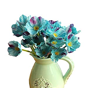 10 PCS High Quaulity Fresh Artificial Mini Real Touch PU/ latex Corn Poppies Decorative Silk fake artificial poppy flowers for Wedding holiday Bridal Bouquet Home Party Decor bridesmaid (Blue) 6