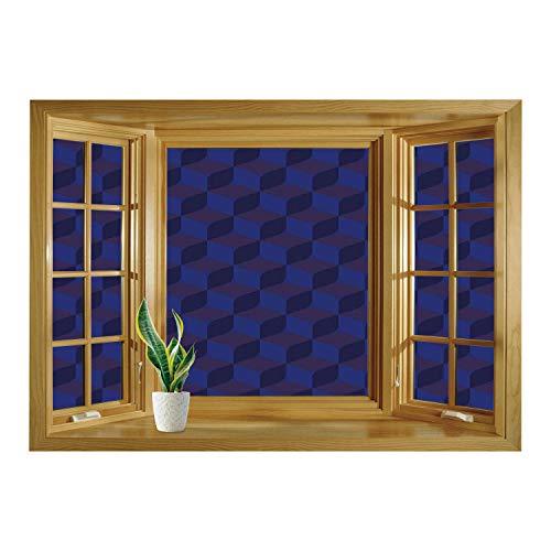 - SCOCICI Wall Mural, Window Frame Mural/Indigo,3D Print Like Geometrical Futuristic Inspired Shadow Boxes Cubes Image Print,Dark Blue and Blue/Wall Sticker Mural