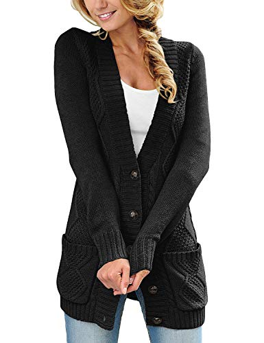 Cable Cardigan Sweater - luvamia Womens Black Casual Long Sleeve Open Front Buttons Cable Knit Pocket Sweater Cardigan Outwear Size L(US 12-14)