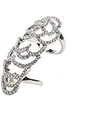 Hot Punk Style Silver Plated Joint Knuckle Crystal Finger Ring Band