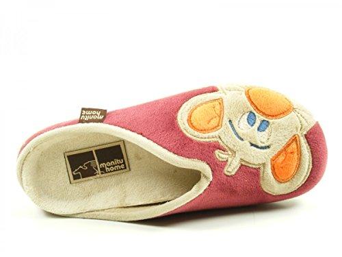 Manitu 320447 Schuhe Damen Hausschuhe Pantoffeln Rot