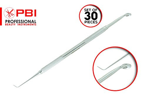 Blackhead extractor - Whitehead Extractor - Acne, Blemish Remover - Face Impurities Extractor - Double sided extractor - 16.5 cm - 30 pieces set - Stainless Steel from PBI by PBI professional beauty instruments