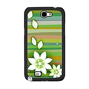 Flowers Series High Impact Love Floral Print Designer Case for Samsung Galaxy Note 2 N7100 Gily Plastic Cell Phone Cover Skin Shell (green stripes) WANGJING JINDA
