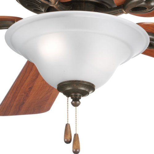 - Progress Lighting P2628-77 2-Light Fan Kit with Etched Glass Bowl Quick-Connect Wiring, Forged Bronze