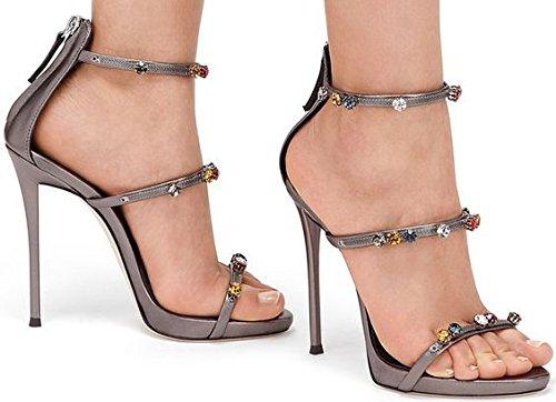 Talones de diamantes de imitación simple Rhinestone sandalias de tacón alto los tacones altos Bronze