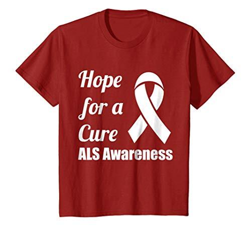 Cure T-shirts Als (Kids Hope for a Cure ALS Awareness Ribbon T-Shirt 10 Cranberry)