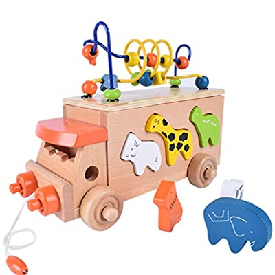 TOYANDONA Wooden Activity Cube Wood Animal Shape Color Sorter Push Pull Toy Bead Maze Counting Learning Toys for Kids Toddler Boys Girls: Toys & Games