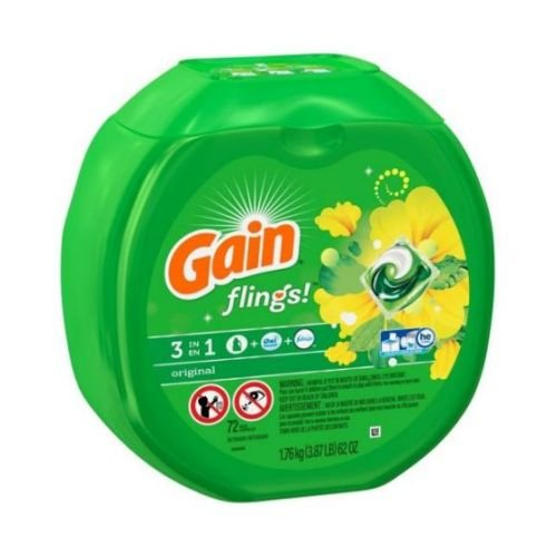 Gain Flings Original Scent Laundry Detergent Pac, 72 count per pack -- 4 per case.