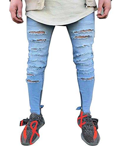 Hombre Elásticos Cómodos Jeans Slim Fit Denim vaqueros Destruido Rotos Tapered Tejanos Pantalón 50azul