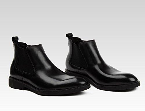 HWF Scarpe Uomo in Pelle Scarpe da uomo in pelle High-top di stile britannico punta corta Martin Tooling Boots (Colore : Nero, dimensioni : EU42/UK7.5) Nero