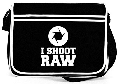 Shirtstreet24, I SHOOT RAW, Kamera Camera Retro Messenger Bag Kuriertasche Umhängetasche Schwarz