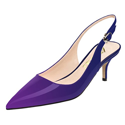 Comfortable Toe Women Blue VOCOSI Kitten Heels Slingbacks Pumps Shoes for Pointy Low purple Pumps wxgU1Rq
