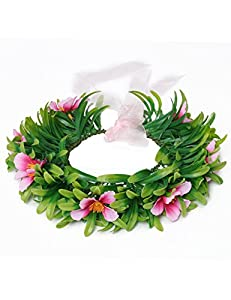 MUABABY Girls Necklace with Hawaii Flowers Garland Garland (Necklace with Headband for Girl)