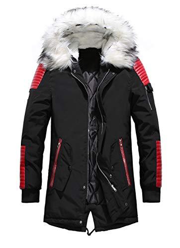 chouyatou Men's Winter Warm Faux Leather Spliced Padded Long Down Alternative Parka Coat Fur Hood
