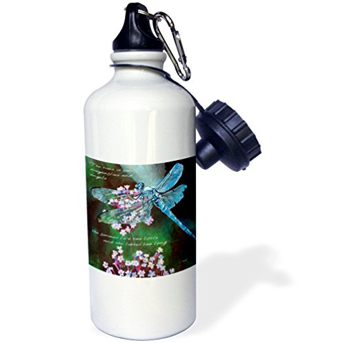 Blue Winged Dragon (3dRose Taiche - Greeting Card - Dragonfly - Blue Dragonfly Dragonfly art in a realistic style of a blue winged insect on wild garlic - 21 oz Sports Water Bottle (wb_128366_1))