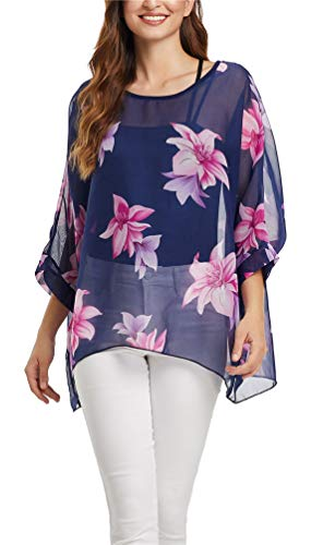 Nicetage Women Floral Loose Chiffon Blouse Caftan Poncho Tunic Tops HS166New-4363