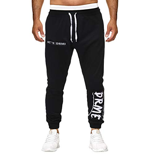 Men's Tapered Training Pants | Boys Fashion Jogger Outdoor Sweatpants with Letter Print | Casual Comfy Athletic Trousers