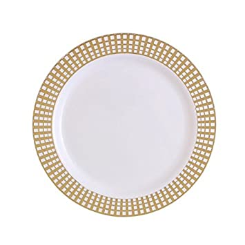 Party Bargains White Gold Plastic Plates | Elegant Gold Checkerboard Border u0026 Durable Signature Collection Disposable  sc 1 st  Amazon.com & Amazon.com: Party Bargains White Gold Plastic Plates | Elegant Gold ...