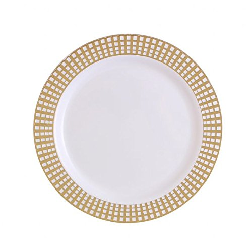 Party Bargains White Gold Plastic Plates | Elegant Gold Checkerboard Border & Durable Signature Collection Disposable Plate Perfect for Wedding and Party Dinnerware - 9 Inch | Pack of 40