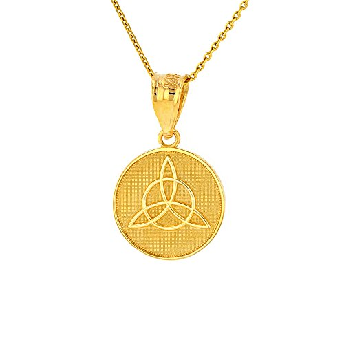 Dainty 14k Yellow Gold Irish Infinity Circle Celtic Trinity Knot Disc Necklace, 16