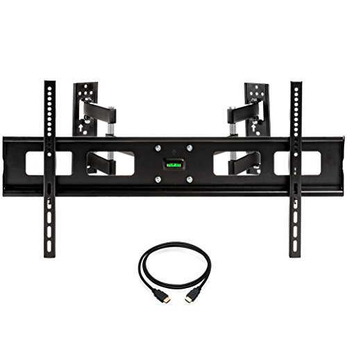 InstallerParts 37″-65″ TV Corner Mount – Swivel/Tilt – 20″ Dual Extension Arm – Heavy Duty LCD LED TV Monitor Flat Panel Screen, HDMI Cable