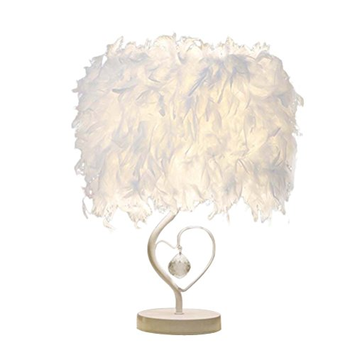 LEDMOMO Table Lamp, Heart Shaped Feather Desk Light for Bedside Reading Room Sitting Room