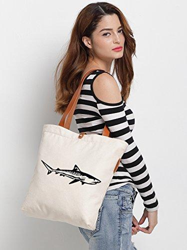 IN.RHAN Women's Animal Shark Graphic Canvas Tote Bag Casual Shoulder Bag Handbag
