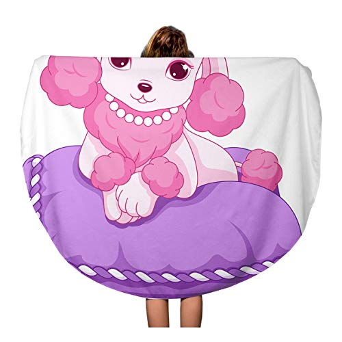 Semtomn 60 Inches Round Beach Towel Blanket Pink Cute Mini Poodle Pet Royal Animal Cartoon Clip Travel Circle Circular Towels Mat Tapestry Beach ()