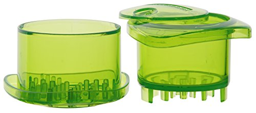 Fackelmann 45582 2.4 x 3.3'' Plastic Garlic Chopper, Transparent/Green by Fackelmann