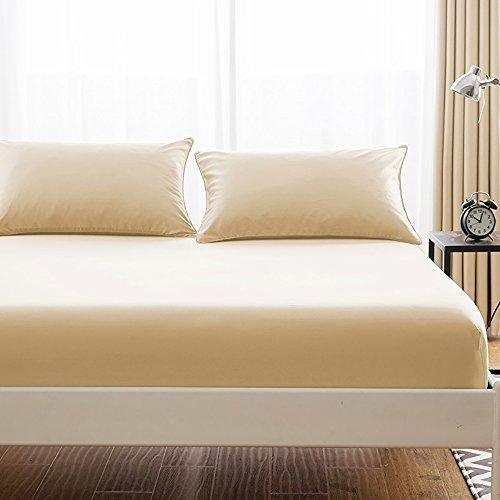 ボックスシーツ 毛玉なし 綿100% シーツ マチ部分約30cm ベッドシーツ マットレスカバー ベッドカバー (クイーン・160X200cm, ベージュ)