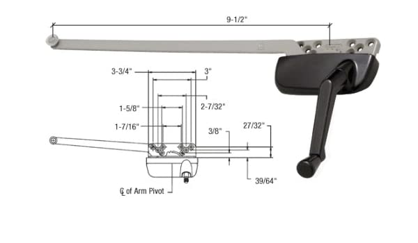 "CRL White Rt Hand Casement Window Operator Surface Mount w// 13-1//2/"" Arm"