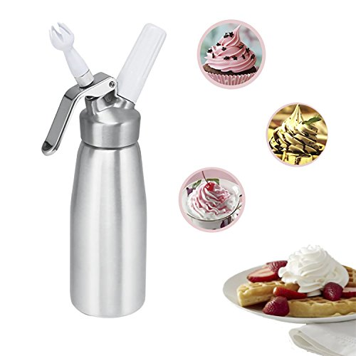 Professional Whipped Cream Dispenser Whip Culinary cream maker high strength aluminum alloy 0.5L with 3 Decorating tips and Cleaning Brush by Oranlife