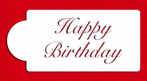 Designer Stencils C241 Fancy Happy Birthday Cake Stencil, Beige/Semi-Transparent ()
