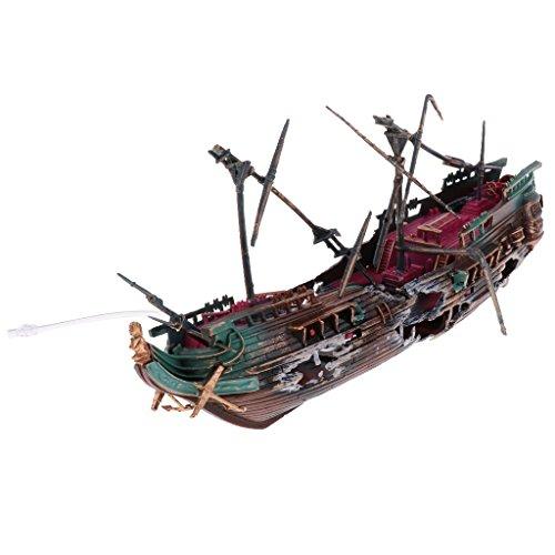 Baosity Aquarium Decoration Pirate Sunken Ship for Fish Tank Ornament Decor - #2 -