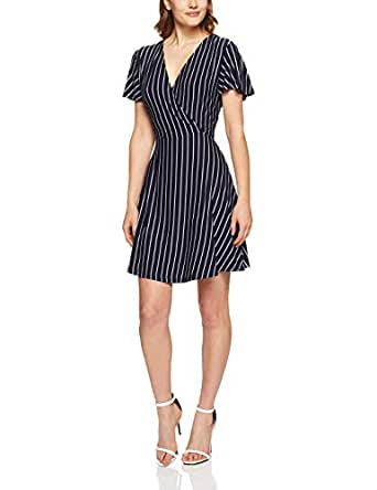 French Connection Women's Stripe Jersey WRAP Dress, Nocturnal/Summer WHI, Extra Small