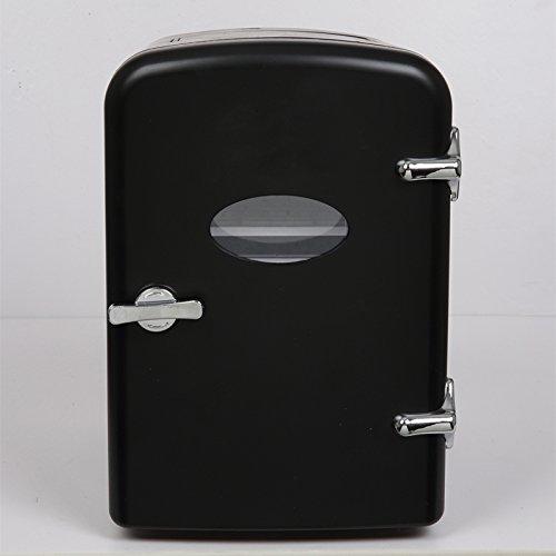 Retro Portable 6 Can Mini Fridge Cooler - Home,Office, Car or Boat - AC & DC - Black - 110/120V
