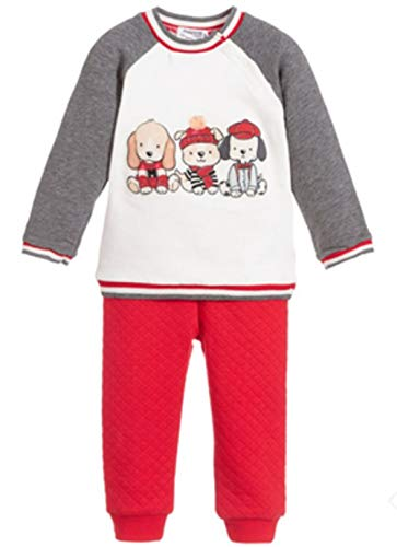 Mayoral Baby Boys' RED and Grey Tracksuit with Dog Appliques Size 4-6 Months