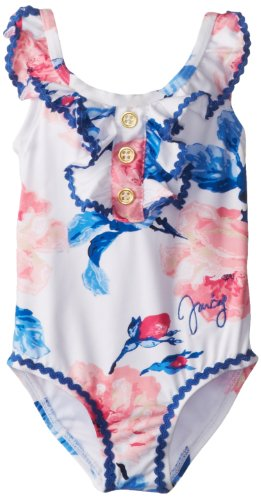 Juicy Couture Baby Baby-Girls Newborn Floral Swim Suit, Large Rose Print, 6-12 Months