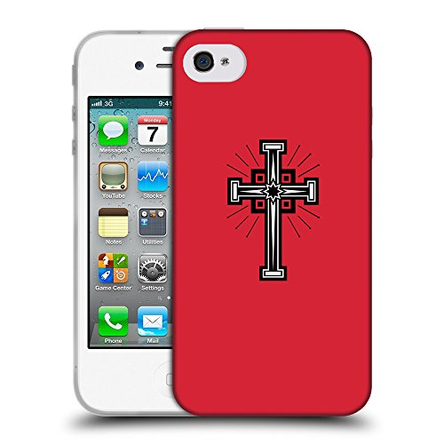 GoGoMobile Coque de Protection TPU Silicone Case pour // Q07990601 Christian Cross 24 Alizarine // Apple iPhone 4 4S 4G